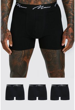 Black 3 Pack MAN Script Mid Length Trunks