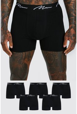 Black 5 Pack MAN Script Mid Length Trunks