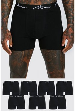 Black 7 Pack MAN Script Mid Length Trunks