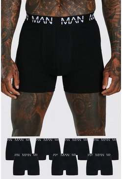 Black 7 Pack MAN Dash Mid Length Trunks