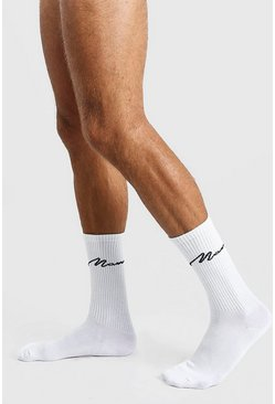 White 5 Pack MAN Script Sports Socks