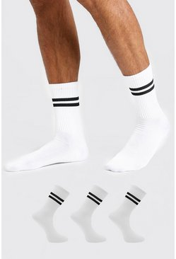 White 3 Pack Striped Sports Socks