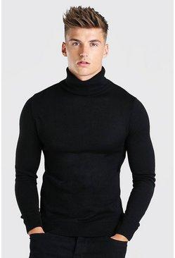 Black Regular Fit Turtleneck Sweater