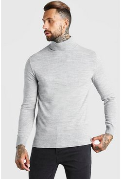 Grey marl Regular Fit Roll Neck Sweater