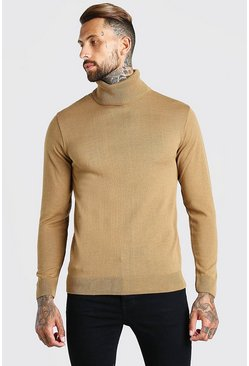 Camel Regular Fit Roll Neck Jumper