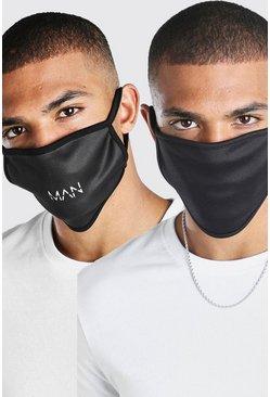 Black 2 Pack MAN Dash And Plain Fashion Masks