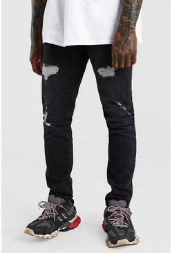 Washed black Skinny Fit Jean With Rips