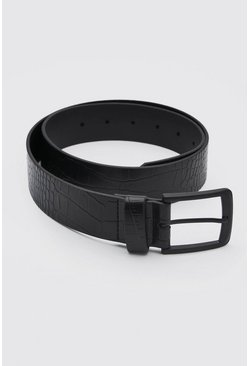 Croc Faux Leather Matte Black Buckle Belt