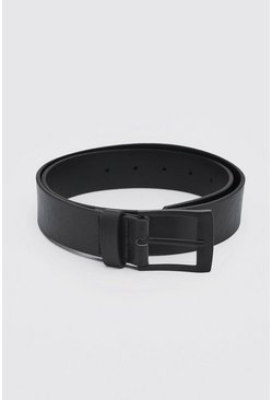 Matte Black Rectangle Buckle Leather Look Belt