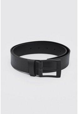 Matte Black Rectangle Buckle Faux Leather Belt