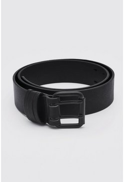 Matte Black Faux Leather Roller Buckle Belt