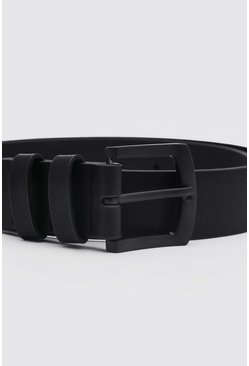 Black Faux Leather Square Buckle Belt