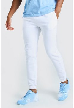 White Basic Skinny Fit Joggers