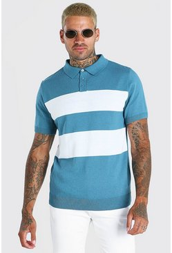 Teal Short Sleeve Striped Knitted Polo