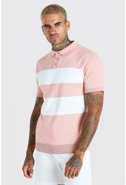 Dusky pink Short Sleeve Striped Knitted Polo