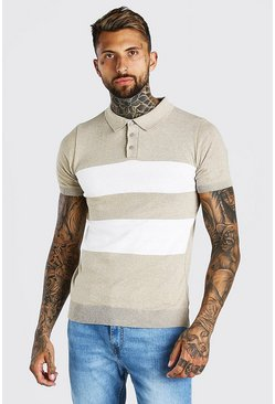 Stone Short Sleeve Striped Knitted Polo