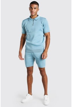 Dusty blue Short Sleeve Half Zip Knitted Polo & Short Set