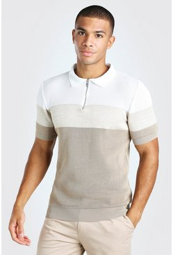 Oatmeal Colour Blocked Muscle Fit Knitted Polo