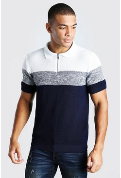 Navy Colour Blocked Muscle Fit Knitted Polo