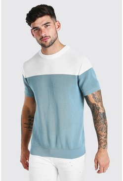 T-shirt coupe moulante en maille contrasté, Dusty blue (bleu)