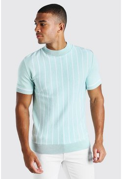 Sage Turtle Neck Striped Knitted T-Shirt