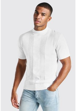 White Turtle Neck Ribbed Knitted T-Shirt