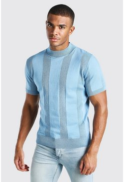 Dusty blue Turtle Neck Ribbed Knitted T-Shirt