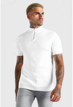 White Half Zip Ribbed Turtle Neck Knitted T-Shirt
