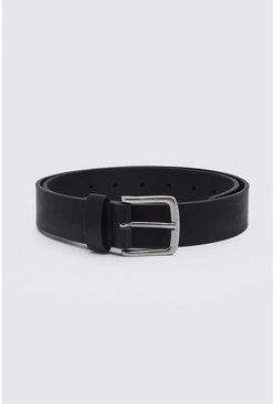 Black Casual Faux Leather Belt