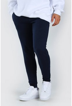 Basic Skinny-Fit Jogginghose, Marineblau
