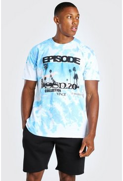 Blue Oversized Back Print Tie Dye T-Shirt