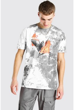 Grey Oversized MAN Official Statue Tie Dye T-Shirt