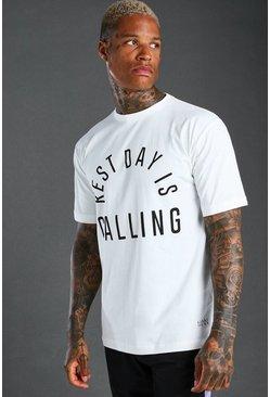 White MAN Active Slogan Rest Day T-Shirt