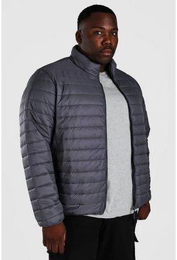 Dark grey Plus Size MAN Foldaway Jacket With Bag