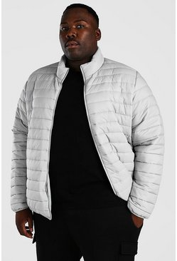 Light grey Plus Size MAN Foldaway Jacket With Bag