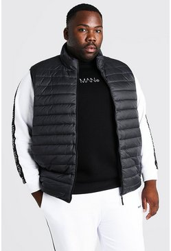 Black Plus Size MAN Foldaway Gilet With Bag