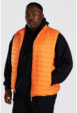 Orange Plus Size MAN Foldaway Gilet With Bag