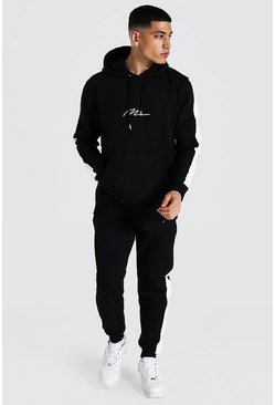 Black Man Signature Contrast Panel Tracksuit