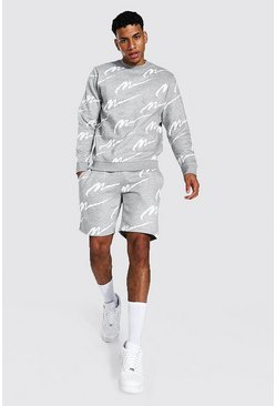 Grey marl All Over Man Print Sweater Short Tracksuit