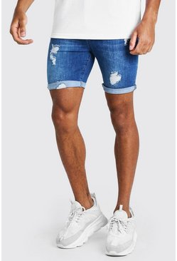 Blue Slim Fit Jean Shorts With Distressing