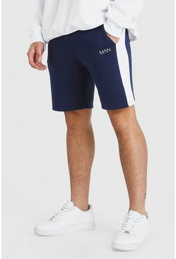 Navy Original Man Mid Length Short With Side Panel