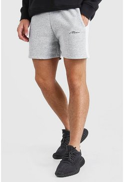 Grey marl Man Signature Jersey Short With Side Panel