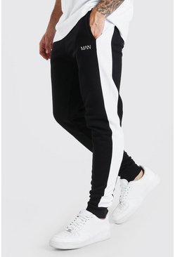 Jogging skinny Fit à empiècement latéral Original MAN, Noir