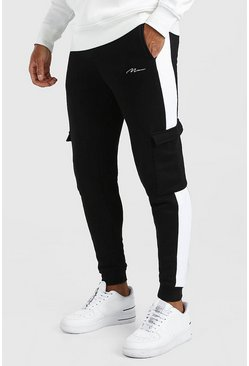 Black Man Signature Skinny Cargo Jogger & Side Panel