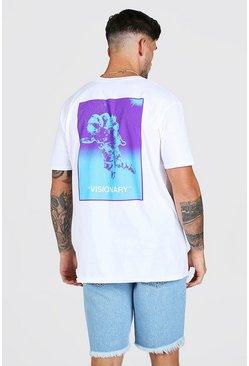 White Oversized Astronaut Back Printed T-Shirt