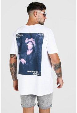 White Oversized Painting Back Print T-Shirt