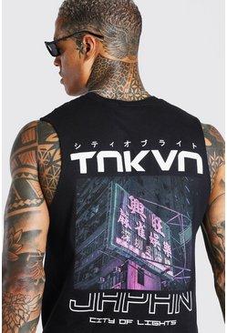 Black Toyko Back Print Drop Armhole Tank