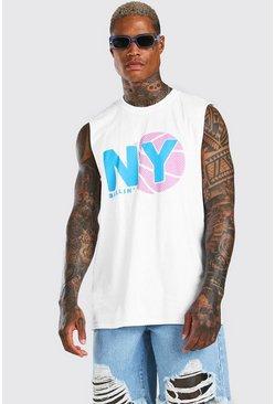 White Oversized NY Basketball Drop Armhole Tank