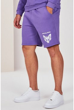 Lilac Big And Tall Pigment Dye Butterfly Short