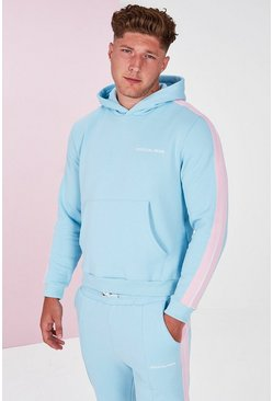Blue Plus Size Side Tape Pastel Hoodie